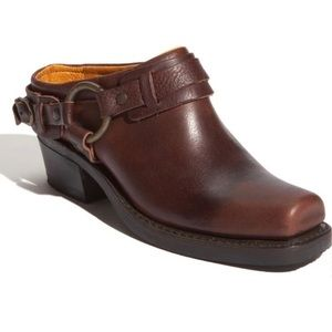 Frye brown oiled harness mules 7